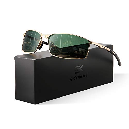 SKYWAY Men's Sunglasses with Polarized Lens for Outdoor UV400 Protection, Anti Glare, Reduce Eye Fatigue (Gold Frame/Green Lens)
