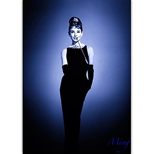 Czarno-biała sztuka fotograficzna Audrey Hepburn obraz na płótnie Nordic plakaty drukuj Salon Home Decor C12 50 × 70 CM bez ramki