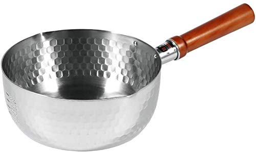 LBWARMB Cazuelas de Cocina Cacerola de la Leche de Acero Inoxidable Sopa Caliente Pote de Fideos Pan de antaño Mango de Madera 16 * 7 cm Freír sartenes