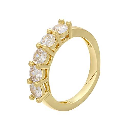 QWKLNRA Anillos Mujer Color Dorado Arcoíris Exquisito Diamantes De Imitación Anillos De Mujer Cristal Ajustable Minimalista Anillos Casuales Únicos Moda Vintage Joyería Regalo
