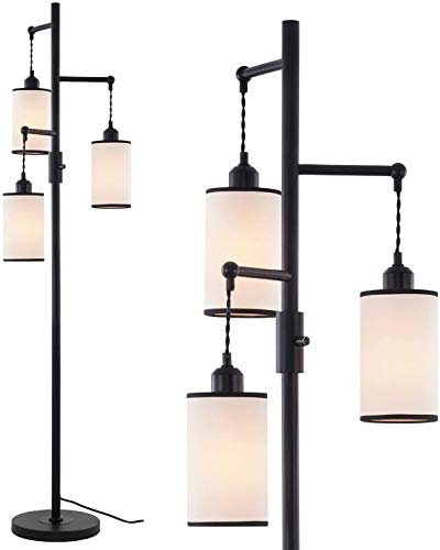Rayofly Lámpara de pie industrial de lino, 3 lámparas de pie con altura de 162 cm, para oficina, salón o dormitorio.