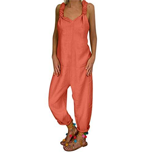 Momoxi Pantaloni Donna Taglie Forti, Casuale delle Donne di Modo Pantaloni Casual Larghi in Cotone E Lino A Gamba Larga Larghi Primavera, Estate E Autunno Multi-Colore in Tinta Unita Multicolore