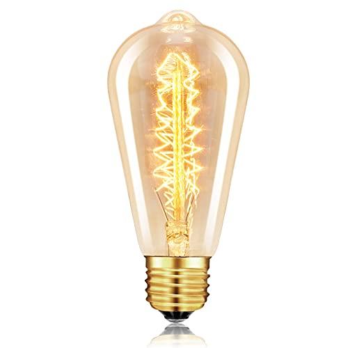 Edison Vintage Glühbirne E27 dimmbar, Retro Lampe 4W Dekorative Glühbirne Antike Leuchtmittel für Nostalgie Beleuchtung im Haus Café Bar (1, ST64)