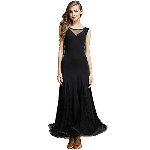 MYF Vestido de Baile Moderno para Adultos, Banquete de cócteles para Damas, Traje sin Mangas con diseño de Cabestro Disfraz de vals Carnaval Vestido de Noche (Color : Negro, Size : XXL)