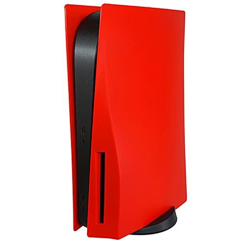ハードカバー PS5本体 交換用パネル PS5 コンソールカバー シェルカバー 本体保護 防塵 傷防止 (PS5 CD-ROM バージョンに適用,赤)