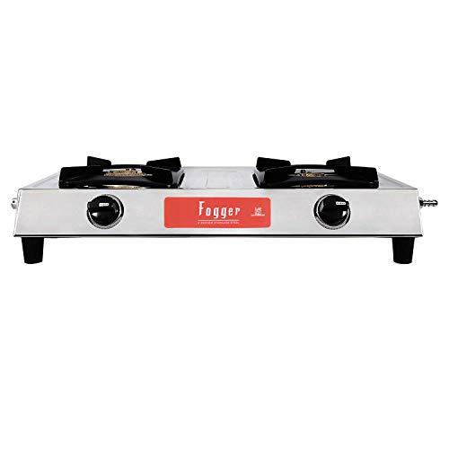 Fogger SHAKTI-2B SS 2 Burner Gas Stove (Manual Ignition, Silver)