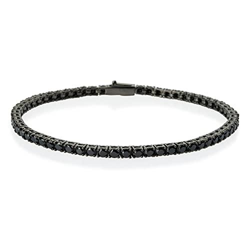 Pulsera de tenis | Rutenio | circonitas negras corte diamante 2,5 mm | de plata 925 hipoalergénica...