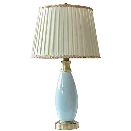 Yjdr Lámpara de mesa de cerámica de seda mercerizada de 48,26 cm para dormitorio, mesita de noche, luz LED, accesorios de iluminación para el hogar