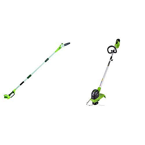 Greenworks 8' 40V Cordless Pole Saw, Battery Not Included 20302 with 12-Inch 40V Cordless String Trimmer, Battery Not Included BST4000