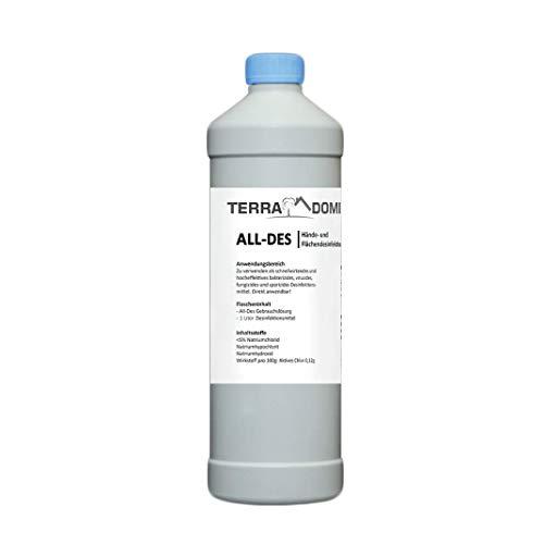 TerraDomi All-Des Breeze 1 Liter parfümiertes schnell Desinfektionsmittel gegen 99,9 aller Viren, Bakterien, Pilze oder Sporen, für Hände und Flächendesinfektion, Made in Germany