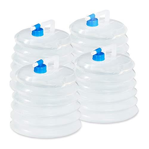 Relaxdays Wasserkanister faltbar 4er Set, 15L Oval mit Hahn, Haltegriff, BPA frei, Camping Faltkanister lebensmittelecht