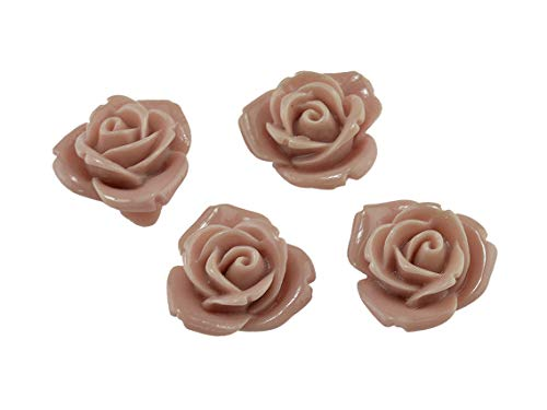Vintageparts Cabochons als Rosen in Altrosa 10 Stück für 12 mm Fassungen, Resincabochons, Rosencabochons, Blume, DIY