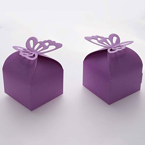 Purple Wedding Party Favors Treat Boxes - Small Bachelorette Bridal Shower Mother Day Party Candy Treat Gift Wrapping Boxes Baby Shower Birthday Party Packaging Boxes Supplies, 50Ct