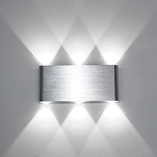 Lightess Lampada da parete a LED da 6W Moderna, Lampada da Parete per Interni, Illuminazione da Parete Up Down in Alluminio per Soggiorno, Camera da letto, Scale, Corridoio (Bianco freddo)