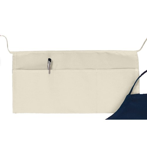 Big Accessories Three Pouch Pocket Waist Apron - NATURAL - One Size