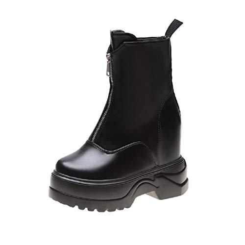 Luckycat Rain Boots, Botas para Mujer Zapatillas Botines Cavalier Mujer Talón Tacón Ancho Alto 6 CM Bota Agua Mujer Chelsea Jardín Trabajo Lluvia Tobillo Botas Festival Antideslizante Boots