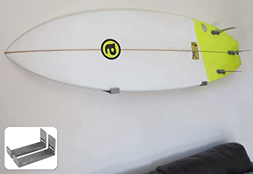 BPS Minimalist Surfboard Wall Mount - No Rusting Marine Grade Aluminum Soft Felt Padding Protects Board's Rail Storage Home and Garage - Easy to Install - Includes Leash String Kit (Grey)