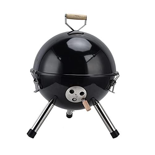 Parrilla de bola de picnic al aire libre, mini parrilla portátil de 12 pulgadas, parrilla de carbón para barbacoa negra, adecuada para jardín, barbacoa al aire libre, camping en la montaña, fiesta.