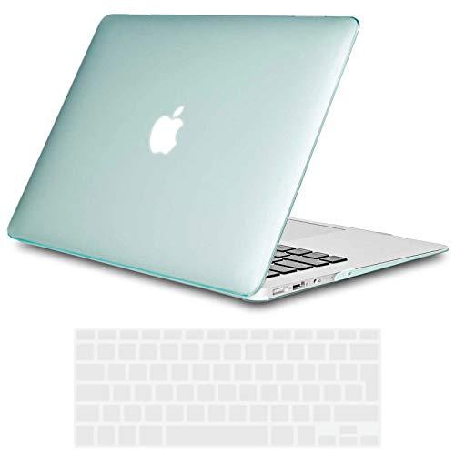 TECOOL Funda MacBook Air 13 Pulgadas (Versión: 2010-2017, Modelo: A1466 / A1369), Delgado Cubierta Plástico Dura Case Carcasa con Tapa del Teclado para MacBook Air 13.3 Pulgada - Cristal Verde