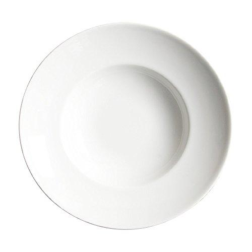 Saturnia Porcelaine Fine 4001238 – Lot de 6 Assiettes Creuses, Porcelaine, Lavable au Lave-Vaisselle, Ø 23 cm, Couleur : Blanc