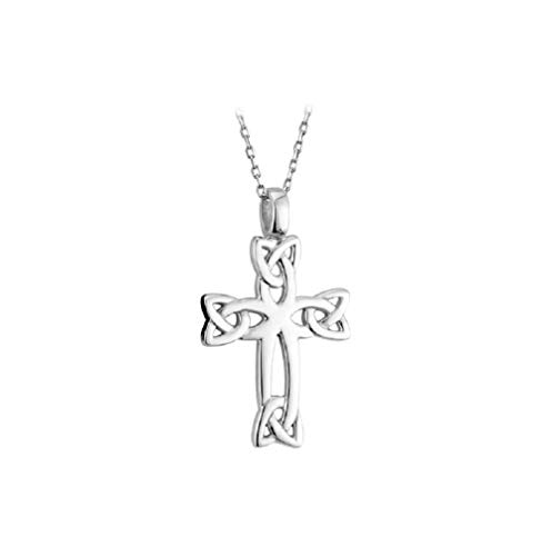Failte Celtic Cross Necklace Trinity Knot Sterling Silver 18 Inch Chain Irish Made