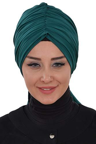 Instant Turban for Women Cotton Head Wrap Lightweight Head Scarf, D. Green