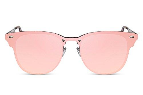 Cheapass Sonnenbrille Pink Verspiegelt Rosé-Gold Flach Sportlich UV-400 Lichtschutz Frauen Damen
