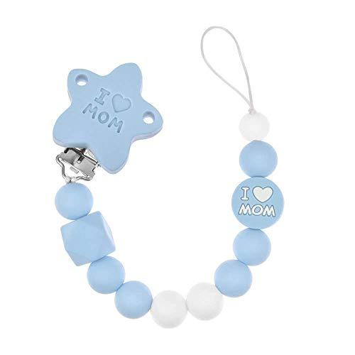 RUBY - Ciuccio in silicone, ciuccio per bambini con sfera e clip a stella I LOVE MOM in silicone privo di BPA e antibatterico (blu)