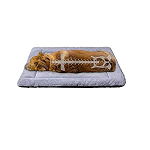 PETCIOSO Summer Super Soft Dog & Cat Crate Bed -Fluffy Pet Bed All Season-Machine Wash & Dryer Friendly-Anti-Slip Pet Beds(NOT for Chewer)(36in,Grey)