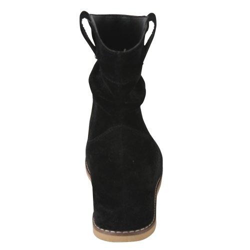 Bonnibel Dexel-1 Women's Slouchy Ankle Boots with Hidden Heels,Black,5.5
