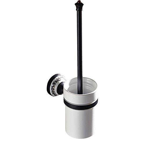ETmla Retro badkameraccessoires zwart Europese koperen keramische basis toiletborstel zwart antiek toiletborstelhouder