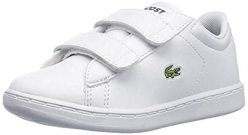 Lacoste Unisex-Baby Kids Carnaby Evo Spc Sneaker Sneaker, White/Navy, 7. M US Toddler