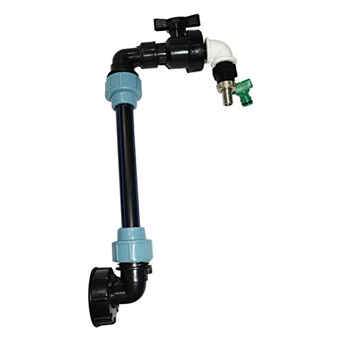 IBC Tank Swan Neck, IBC Tank Heightening Connector Set,3/4 Inch PVC Adaptor with Outlet Tap and Hose Clamps, 3/4 Inch 2in Coarse Thread Seal Tape,