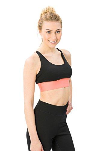 super.natural Damen Sport-BH, Mit Merinowolle, W MOTION TOP, Größe: L, Farbe: Schwarz/Orange