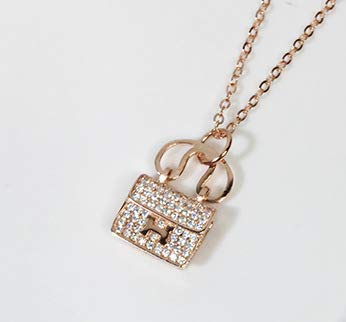 925 Sterling Silver Fashion Jewelry Handbag, H Letter Bag Necklace Female Clavicle Creative Trend Silver Necklace