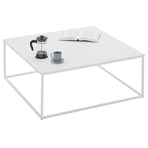IDIMEX Table Basse HILAR Table de Salon Grande Table dappoint Design Retro Vintage Industriel, Plateau carré de 80 x 80 cm en métal laqué Blanc