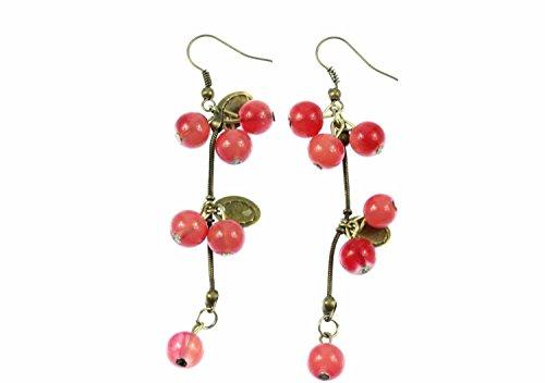 Bayas de la pasa con las hojas pendientes Miniblings baya de la uva roja de bronce