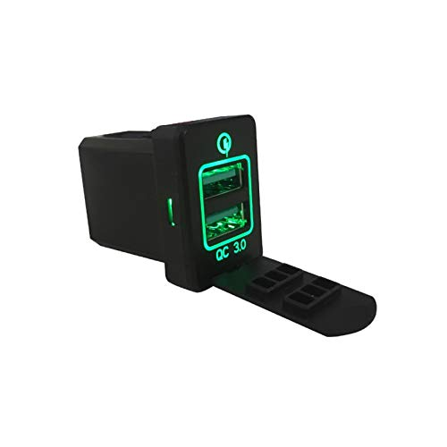 KASILU Jidian48 Coche cálido 3 Cargador DUPLE Puertos USB Toma de Carga Interruptor para Mitsubishi Outlander 3 XPander 2017 2018 Eclipse Cross Mirage PHEV Reemplazo (Color : Green)