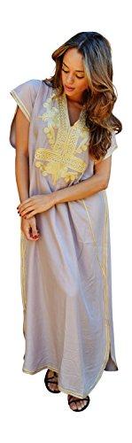 Caftan marocain fait main beige en coton à motif doré pour femme