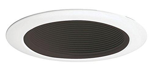 Juno Lighting 14 BWH Halogen Recessed Baffle Trim, 50 watts, 4-Inch, White with Black Baffle