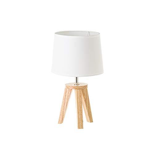 Lámpara de mesita de noche nórdica de madera de roble beige, de ø 19x33 cm - LOLAhome