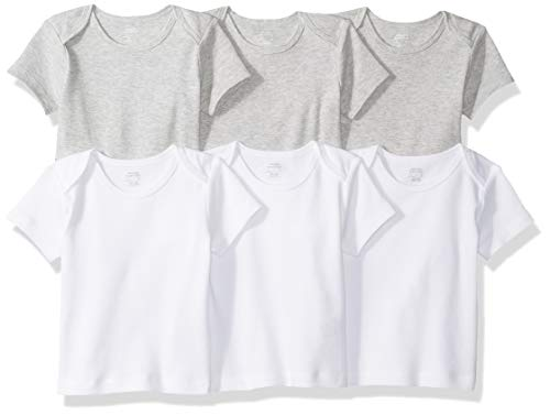 Amazon Essentials Baby 6-Pack Lap-Shoulder Tee, Solid White & Heather Grey, 18M