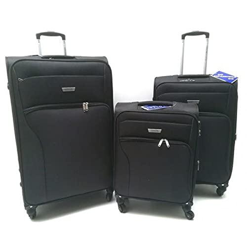 Juego de 3 maletas con ruedas Claxon semirrígido expansible de tela 2204 negra Biosa Bolsos