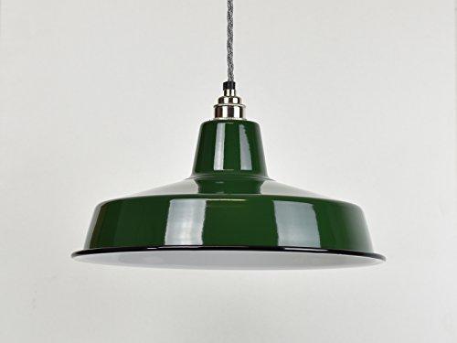 Emaille-Lampenschirm im industriellen Vintage-Stil (Fabrik-/Warenhausstil), groß, klassisches Grün