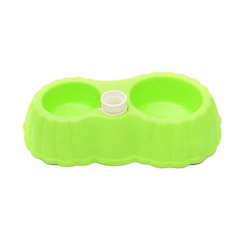 Tuzi Qiuge Kürbisform Hund Katze Lebensmittelschale + Trinkwasser-Doppelschale mit automatischem Wasserspender, Größe: s (Color : Green)