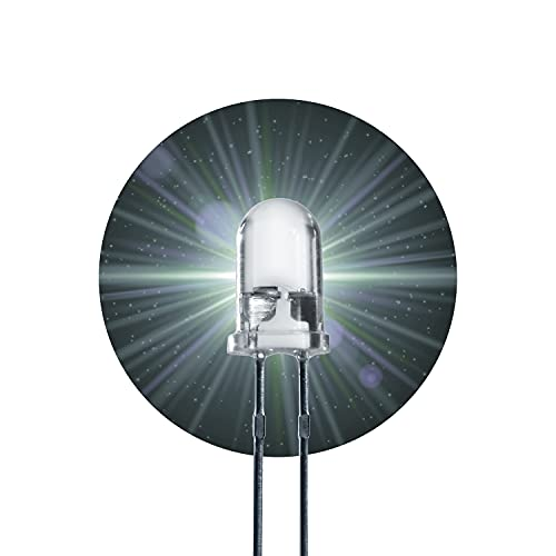 Lumetheus LED 10mm Farbe weiß 140000mcd 5 Stück weiße Leuchtdioden ca. 3V Diode 2 Pin LEDs Gehäuse klar