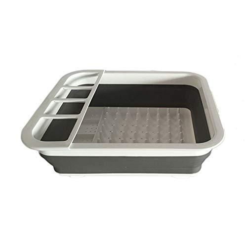 Support à vaisselle facile en silicone et plastique avec support à couverts - Ensemble de support de séchage pliable - Organisateur de vaisselle portable, gain de place pour la cuisine