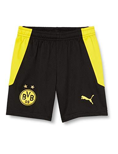 PUMA BVB Shorts Replica Jr Black-Cyber Yellow, 152