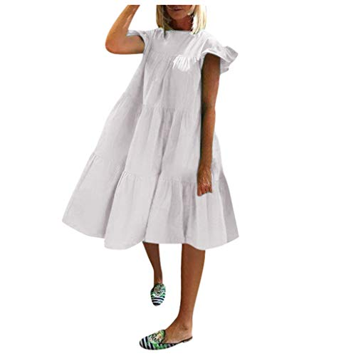 LEXUPE Femmes Robe PlisséE à Manches Courtes Manche Courte Patchwork Solide Col en V DéContracté Long Robe Sweat à Capuche