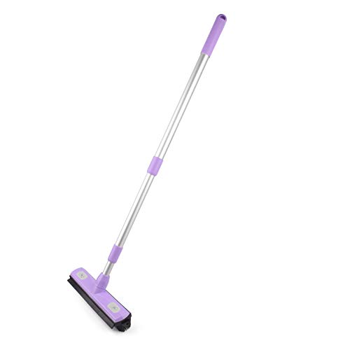 Anoda Rubber Broom Pet Hair Carpet Rake & 59 inch Telescoping Handle- Floor Squeegee Push Broom and Dustpan Set for Dog Hair Clean up. The Microfiber Cleaning Cloth attaches to The Kitchen Broom.